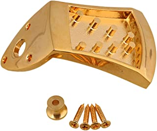 Yibuy 75x45x9mm Golden Metal Triangle Mandolin Tailpiece Parts for 8 String Arched Top Mandolin with Screws