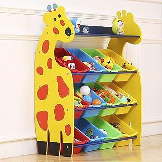 BMHFF Niños Juguete Rack bebé Almacenamiento gabinete jardín de Infantes Dibujos Animados Multi-función Libro Estante Almacenamiento Estante