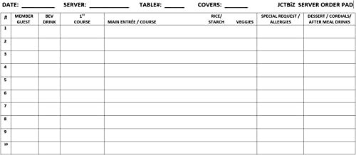 JCTbiz Server Note Order White Pad 8.5 x4 inches Pack of 5