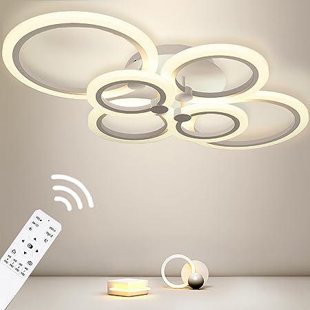 Plafonnier Anten LED Dimmable 40W   Lustre de Suspension Design Moderne à 6 Anneaux Tourné avec Télécommande   2800LM   pour Salon, Chambre, Salle à Manger, en Acrylique