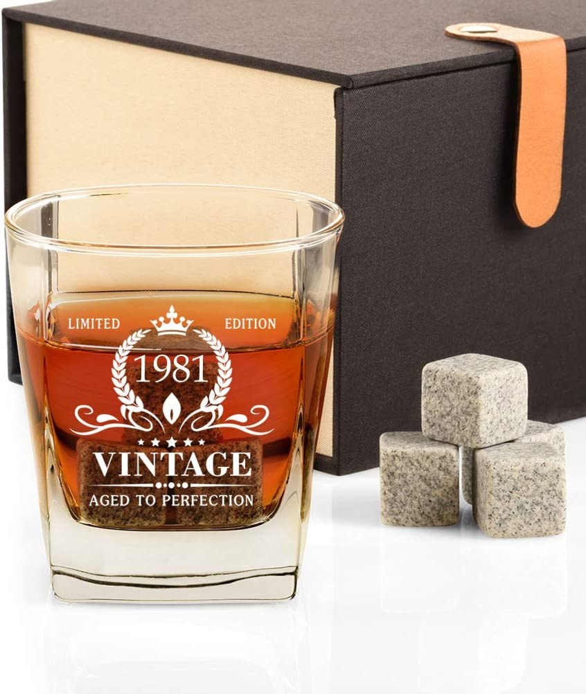 40th Birthday Houston Mall Gifts for Men Vintage and Glass 1981 Whiskey Now on sale Ston