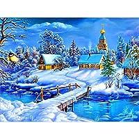 DIY冬の雪景色5Dダイヤモンド絵画フルドリル風景ダイヤモンド刺繡モザイククロスステッチ家の装飾