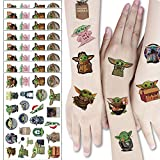 Baby Yo_da Party Supplies Star Wars Temporary Tattoos Stickers for Kids Yo_da Baby False Tattoos for Boy Girls Birthday Party Favors Supplies Great Kids Party Birthday Gifts (8 Sheets)