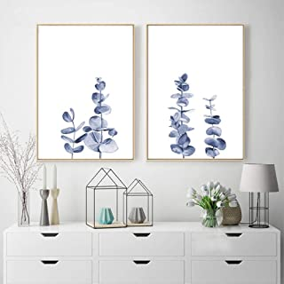 Blue Eucalyptus Leaves Plant Watercolor Illustration Posters and Prints Picture Botanical Wall Art Canvas Painting Home Decor-40x50cmx2 pcs no Frame