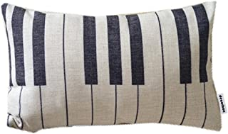Decorbox Piano Keyboard Simple Music Throw Pillow Case Decor Cushion Covers Oblong 20*12 Inch Beige Cotton Blend Linen