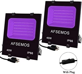 40W UV LED Black Lights 2 Pack with Plug, AFSEMOS IP66 Waterproof UV Cure Lamp for Glow Party Light Supplies, Neon, Halloween, Disco Lighting, Body Paint