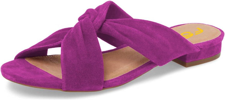 FSJ Women Casual Open Toe Sandals Low Heels Mules Slip On Comfortable Flats Cutout shoes Size 4-15 US