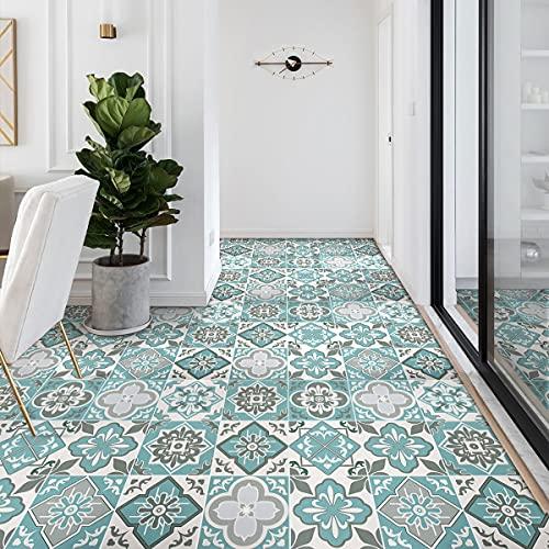 LC&TEAM Tapete selbstklebend Bodenbelag PVC Fußbodenbelag wasserfest Fliesenaufkleber selbstklebend 60x500 cm dünn Stärke 0,28 mm Belag Bodenschutz ca. 3㎡ /Rolle (Fliesen-retro G)