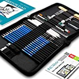 Drawing Pencils Art Supplies - NIL Tech 37pc Drawing Kit Art Set Includes Bonus Digital Ebook Library Of Drawing Tutorials and Sketchbook For Drawing, Charcoal Pencils, Kneaded Eraser, Blending stumps