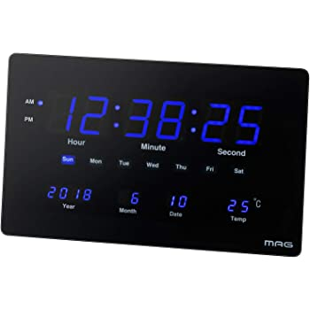 MAG(マグ) 掛け時計 非電波 デジタル デジブルー 温度 カレンダー表示 置き掛け兼用 ブラック W-724BK