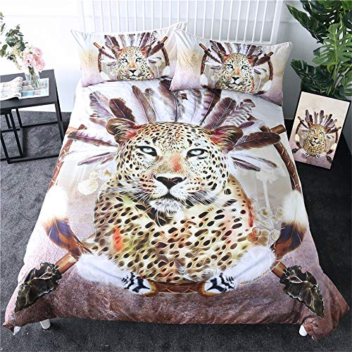 3 Piece Tribe Bedding Set Leopard And Feathers Print Duvet Cover Pillow Shams Tribal Twin Full Queen King Bedclothes,264cmx228cm