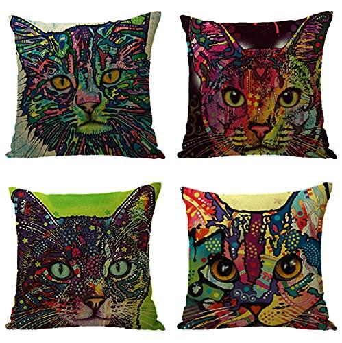 KaiXINSun Throw Pillow Fundas Paquete de 4 Funda de Almohada de 18X18 Pulgadas Funda Decorativa de Sofá de Casa Cuadrada Cremallera Invisible 45X45Cm Patrón de Gato Pintado