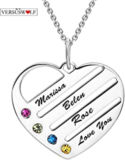 Nameplate in Sterling Silver VERSUSWOLF Personalized Custom Name Necklace with Birthstone