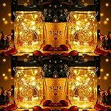 Lámparas solares Mason Jar, DazSpirit Mason Jar Lights Luz de vidrio Luces colgantes de jardín impermeables al aire libre para decoración, hogar, fiesta, pared, mesa (4pcs)