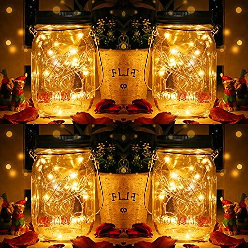 DazSpirit 4 piezas de lámpara solar para tarro de albañil, 20 LED linterna solar para exteriores, lámpara solar impermeable para decoración interior al aire libre, jardín, fiesta, balcón, Navidad