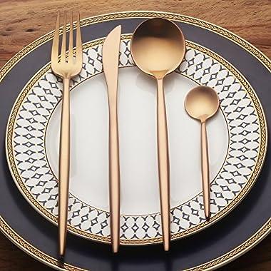 LEKOCH 4-Piece Stainless Steel Flatware Set 1 Including Fork Spoons Knife Tableware (Rose Golden)