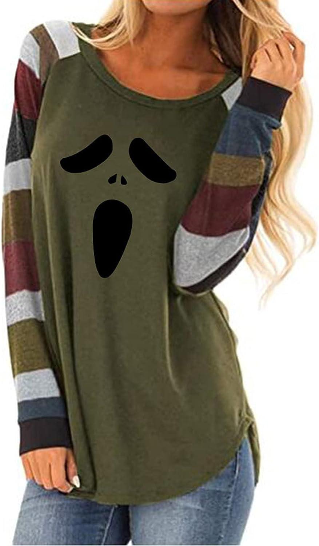 Halloween Long Sleeve Tee Shirt for Women Lightweight Pullover Tops Ghost Graphic Sweatshirt Cardigan Coat
