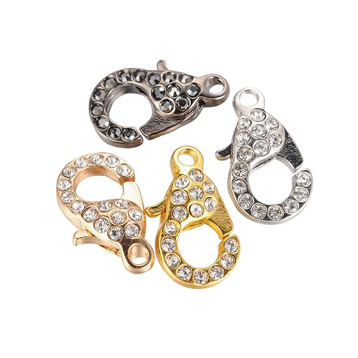 NBEADS 10 Pcs Random Mixed Color Lobster Clasps Rhinestone Lobster Claw Clasps for Jewelry Making Findings