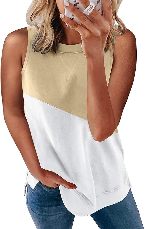 Gerichy Tank Tops for Women, Womens Tops Summer Casual Cute Splicing Sleeveless Crewneck Tunics Blouse Vest Tees Shirts