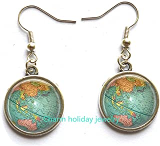 Beautiful Globe Stud Earrings Planet Earth World Map Art Earrings in Bronze or Silver with Link Chain Included.D0011