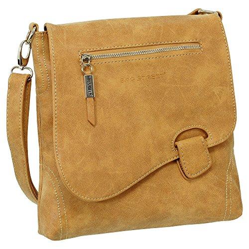 Ledershop24 Geschenkset - Handtasche Schultertasche Umhängetasche Wildleder-Imitat Used Look mit Riegelverschluss Farbe cognac