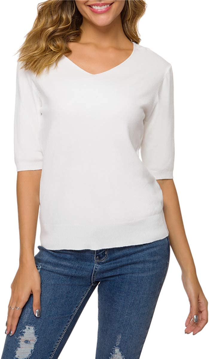 DAIMIDY Women's Cashmere & Cotton Blend Shirts Short Sleeves