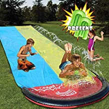 SOARRUCY Water Slip and Slides for Kid Adults,Colorful Slip Slide Play with Plash Sprinkler,Garden Backyard Giant Racing Lanes and Splash Pool,Outdoor Water Toys.