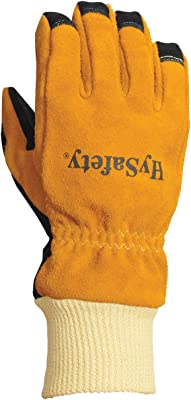 HySafety 7883L 3D Structural Firefighting Glove with Knit Wrist Meets NFPA 1971-2013 Standards Leather, Large
