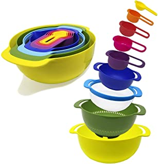 9-Piece Nesting Mixing Bowls & Measuring Cups Set for...