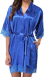 GAGA Women's Nightwear Nightgown Lace Trim Kimono Robe Sleepwear Satin Short Robe