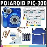 Polaroid Cámara analógica de película instantánea PIC-300 (Azul) con (5) paquetes de película instantánea Polaroid 300 de 10 unidades + Funda de neopreno Polaroid + Kit de limpieza Polaroid + Correa de cuello y muñeca para Polaroid + (4) pilas AA