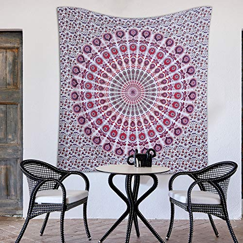 Raajsee Indisch Psychedelic Mandala Weiß Rosa Wandteppich / Indien Elefant Boho Wandtuch Hippie Wandbehang 82x92 Inches