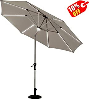 PURPLE LEAF 9 Feet Solar Powered LED Lighted Patio Umbrella with Push Button Tilt and Crank Outdoor Market Umbrella Garden Umbrella, Khaki