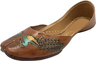 Brown Women Casual Plain Ballet Comfort Flat Shoes Peacock Artwork Khussa Mojari