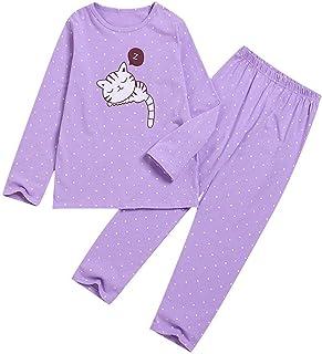 FWEIP Children Kids Long Sleeve Cartoon Cat Printed Tops Blouse+Pants Pajamas Set Home Casual Sleep Suit