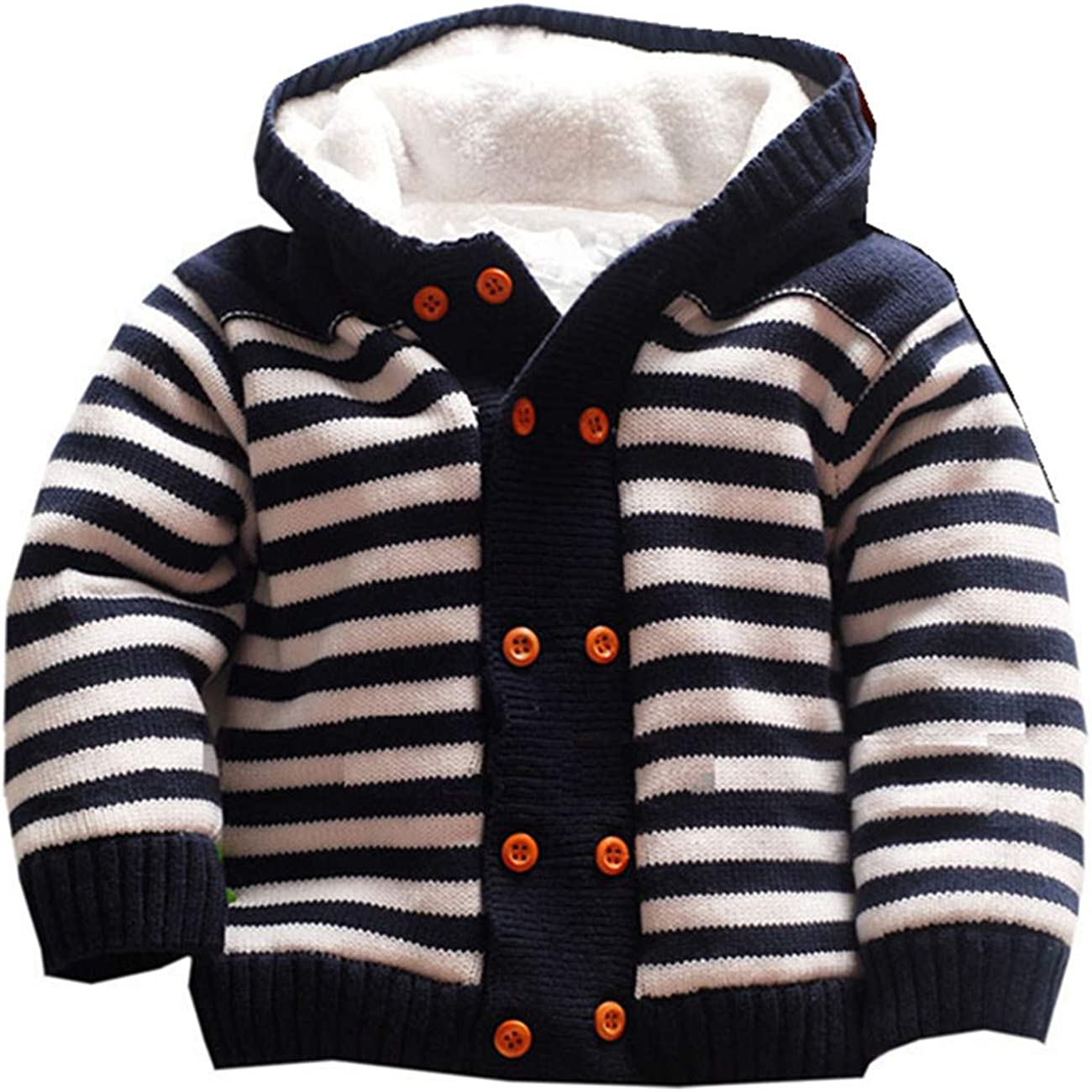0-3 M Baby Boys Warm Fleece Lined Knitted Jacket Winter Design Blue  RRP £9.00
