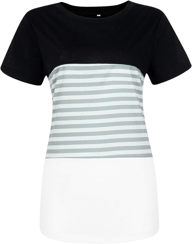 Aukbays T-Shirts for Women Womens Women's Casual Short Sleeve Round Neck Triple Color Block Stripe T-Shirt Blouse Tops