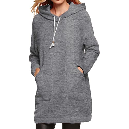7bbdfa23717 Qearl Women Autumn Loose Warm Pocket Pullover Hoodie Tunic Sweatshirt