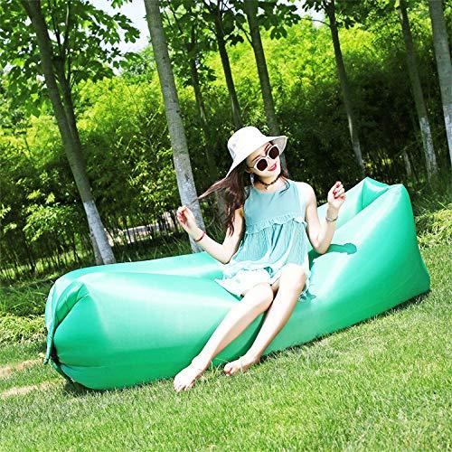 OOY Aufblasbarer Luft-Nichtstuer-Stuhl Faules Sofa Innen- / Selbstaufblasender Wasserdichter Explosions-Couch-reißfester Halter Im Freien Für Das Kampieren Strand Park Pool Picknicks,FluorescentGreen