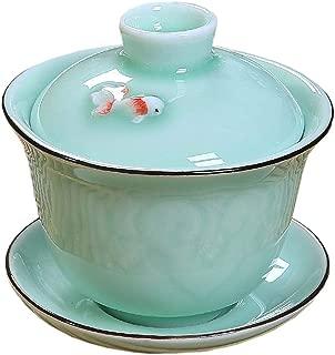 Gaiwan Traditional Tea Cup Comprised of Cup, Saucer and Lid Sancai wan tea set teapot kungfu tea set (6)