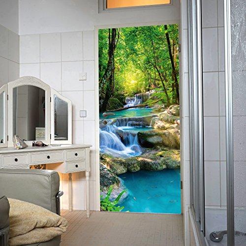 murimage Türtapete Wasserfall 86 x 200 cm inklusive Kleister Wald Fluß Tapete Dschungel Thailand Asien Tropen Tropisch Tapete Fototapete