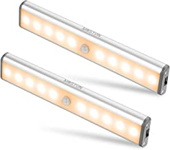 Bewegingssensorkastverlichting, 10 LED draadloze onderkastverlichting met ingebouwde oplaadbare batterij, overal op te han...
