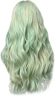 Xiaojmake Women's Green Wig Long Curly Hair Heat Resistant Fiber Wigs Harajuku Lolita Style for Cosplay Halloween Party