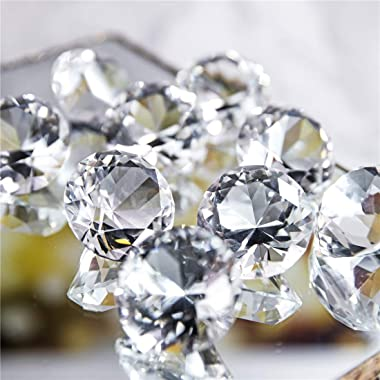 Pack of 10 Crystal Diamond Jewel Home Decor, Wedding Table Decoration, Glass Paperweight 40mm (1.6in)