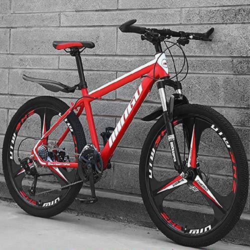 24 Pulgadas 21-velocidad Bicicleta De Montaña,3 Habló Bicicleta De Engranajes Con Frenos De Disco Dobles & Suspensión De Horquilla,Absorción De Impactos Bicicleta De Neumáticos De Grasa Sport Bike-C 2