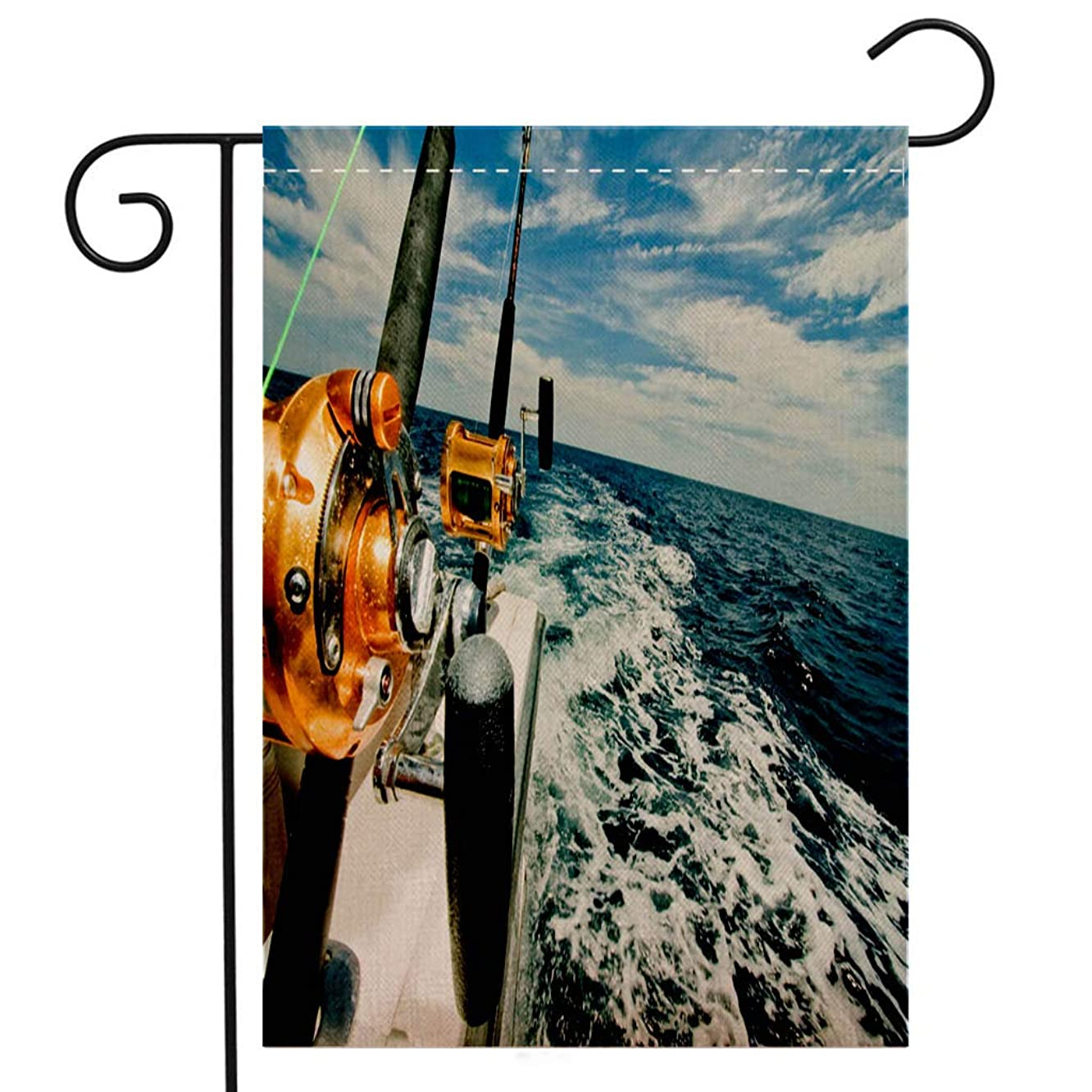 BEIVIVI Creative Home Garden Flag Big Game Fishing Reels on a Boat in The Ocean Garden Flag Waterproof for Party Holiday Home Garden Decor