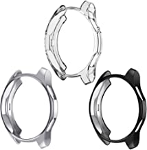 Case Compatible Samsung Galaxy Watch 46mm, NaHai TPU Slim Plated Case Shock-Proof Cover All-Around Protective Bumper Shell for Galaxy Watch 46mm Smartwatch, 3 Pack Crystal Clear, Black, Silver