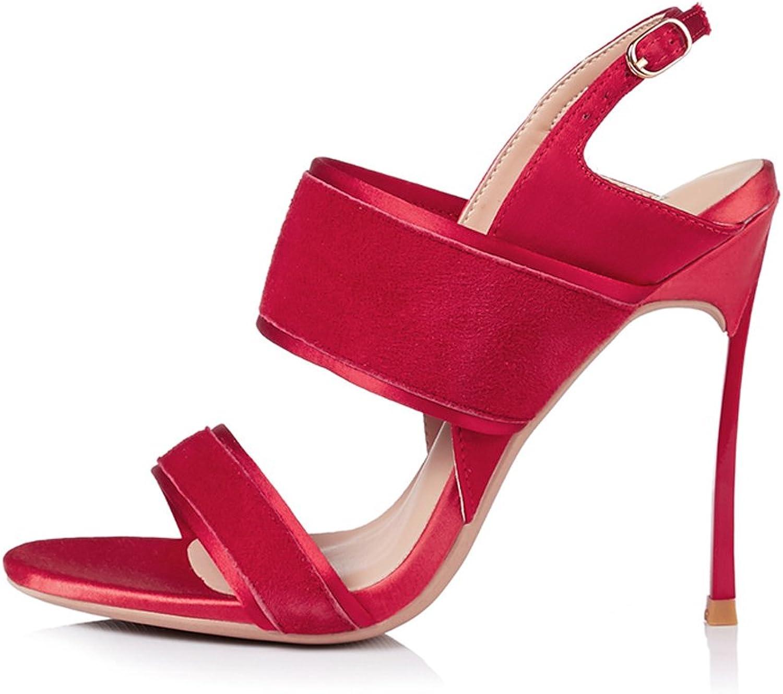 JE shoes Women's Sandals Satin High Heel Ribbon 8cm
