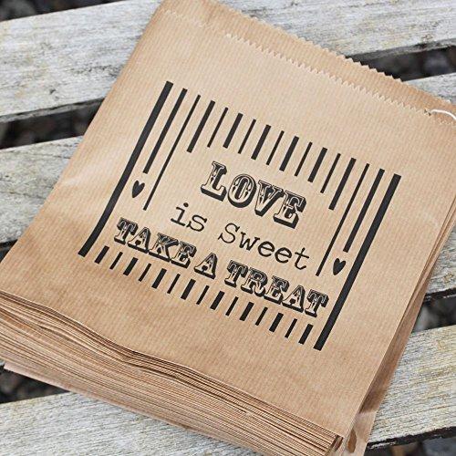 Luck and Luck Papiertten, Aufschrift Love is Sweet, ideal fr Hochzeiten, Braun, 90 Stck