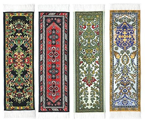 Oriental Carpet Rug Bookmarks #2 (Set of 4) Beautiful, Elegant, Woven Cloth Bookmarks! Oriental Carpet Rug Bookmarks - Beautiful, Elegant, Woven Cloth Bookmarks! Best Gift